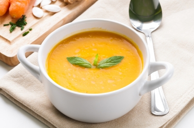 bowl of soup with garnish