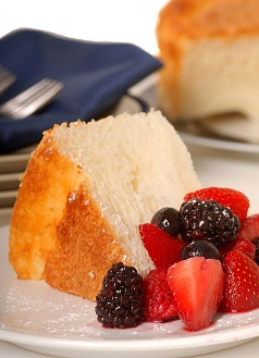 angel cake with mixed berries