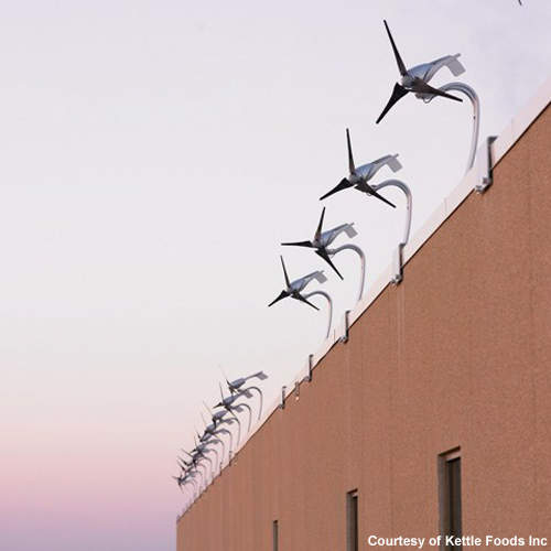The building has 18 wind turbines to help offset its electricity use.