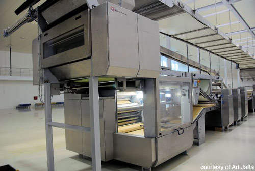 The combination laminator at the new Ad Jaffa biscuit factory produces Petit Beurre and crackers.
