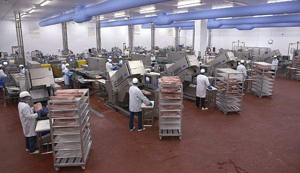 AEW Delford Systems machines in action with five lines producing quality bacon.