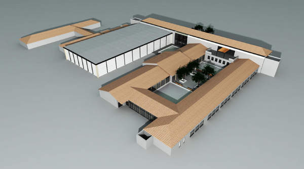 An artist's impression showing the oblique front view of the CPUT Food Technology Complex in Bellville campus, South Africa.
