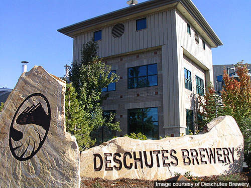 The landmark glass façade of Deschutes' building in Bend.