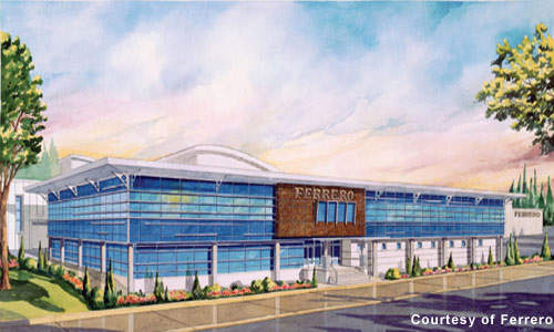 A computer rendering of Ferrero's Brantford manufacturing plant. The 900,000ft² plant opened in October 2006 to serve the US market.
