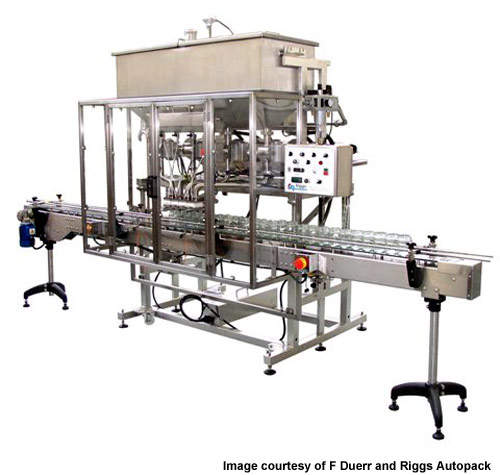 The Model 1000 four head filling machine.