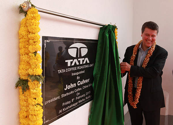 Starbucks and Tata coffee roasting and packaging plant was inaugurated in February 2013.