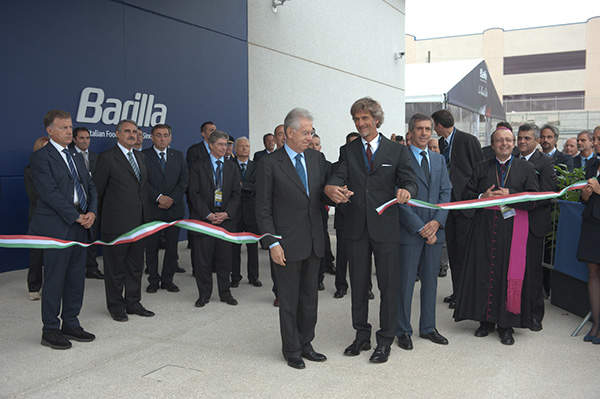 Italian Prime Minister Mario Monty inaugurating the Barilla sauce production factory.