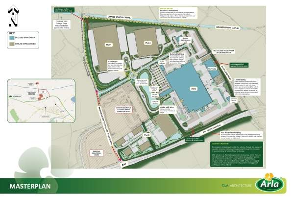 Master plan of the dairy and the business park. Image courtesy of Arla Foods UK.