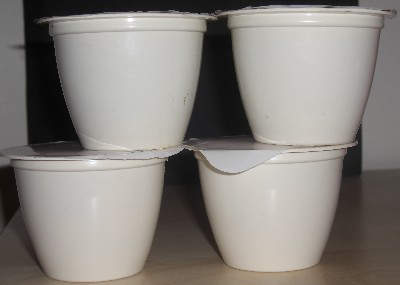 The microwaveable sponge pudding plastic containers.
