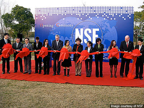 Official ribbon cutting ceremony during the opening of Shanghai Testing Laboratory in February 2011.