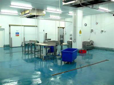 Inside the processing area showing the hygienically coated polyurethane floor.