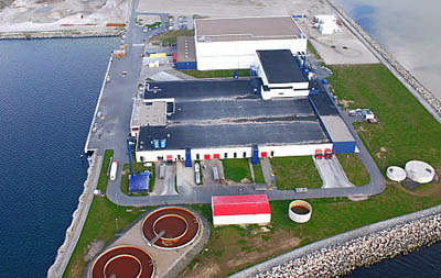 A view of the fish processing plant prior to the new expansion.