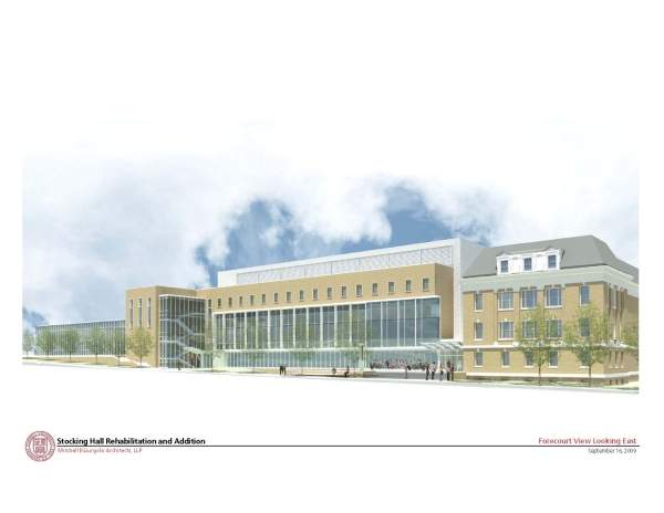 Image of the new Stocking Hall forecourt looking east. Image courtesy of Mitchell / Giurgola Architects, LLP.