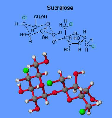 Sucralose molecular structure model.