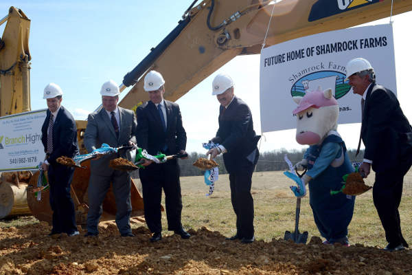 Shamrock Farms broke ground for the new dairy manufacturing facility in March 2013.