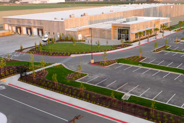 The new almond processing facility is located at the centre of Washington and Fulkerth Roads in Turlock.