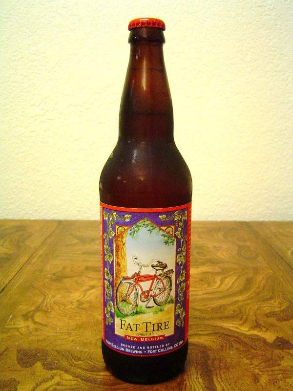 The famous Fat Tire Amber Ale beer produced by the New Belgium Brewing Company. Image courtesy of Geographer.