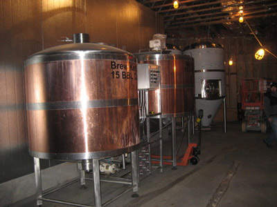 The new brew house with copper vessels.
