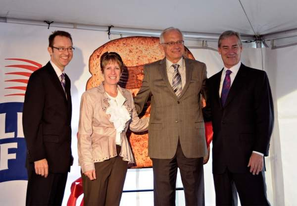 David Adames, president of the Hamilton Chamber of Commerce, councillor Brenda Johnson, Mayor Bob Bratina, City of Hamilton and Michael McCain, president and CEO of Maple Leaf Foods, at the inauguration ceremony. Image courtesy of Maple Leaf Foods.