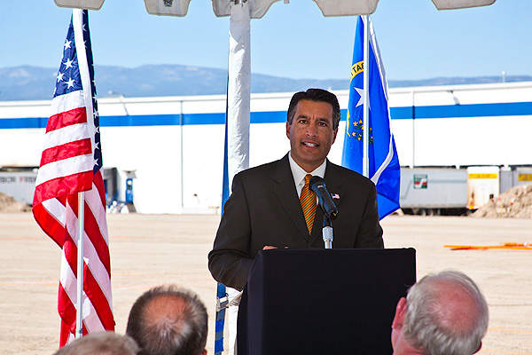 Nevada Governor Brian Sandoval addresses the audience during the groundbreaking ceremony for the Now Foods west coast distribution and manufacturing facility.