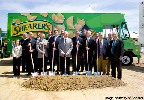 The groundbreaking ceremony for the Shearer's snack manufacturing plant was held in July 2009.