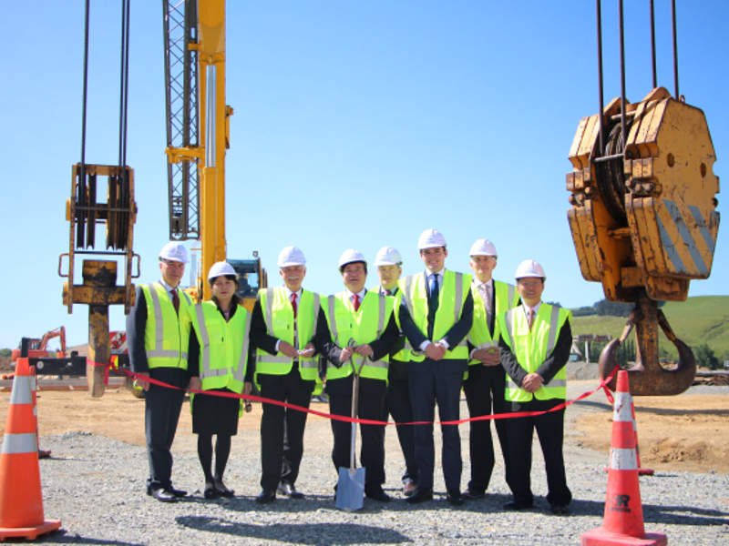 Ground-breaking ceremony for the construction of the dairy processing plant in Gore, Southland, New Zealand, was held in December 2016. Image: courtesy of China Animal Husbandry Group.