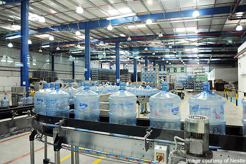 Bottling plant in the factory.