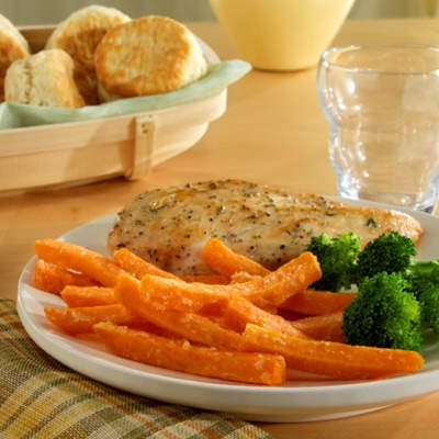 In the US, sweet potato fries are seen as a healthier alternative to normal potato fries.
