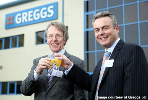The bakery was opened by Ian Gregg OBE (right) and Alan Greenshields, general manager of Greggs of Scotland (left).