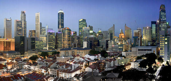 The bustling island of Singapore's financial district.