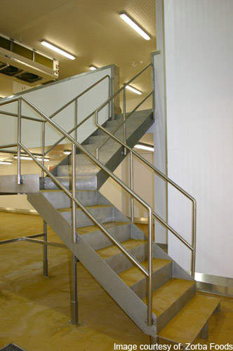 The mezzanine floor in the Zorba facility expansion helped to save space while allowing new equipment to be installed.