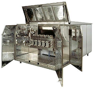 Homogenisation unit. Milk homogenisation gives the cheeses such as blue mould and feta a paler appearance and makes the fat more susceptible to fat cleavage by means of lipase enzymes.