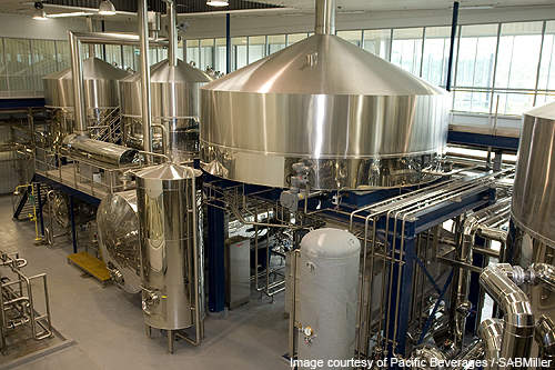 The smaller brewhouse in the facility.