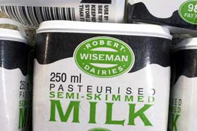 Wiseman standard semi-skimmed milk in its HDPE container, which is made on-site in Bridgwater.