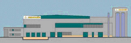 Side elevation of the facility design showing the production hall and the administration area.