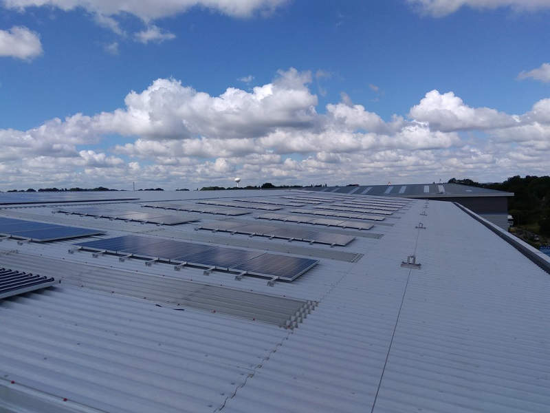 A solar PV system installed on the roof of the building provides power to the facility. Image courtesy of Michael Sparks Associates.