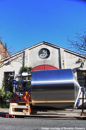 The arrival of the Bavarian-built brewing equipment at the Brooklyn Brewery site.