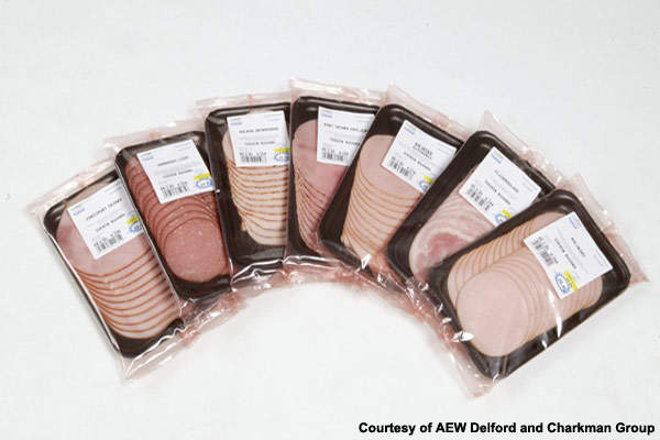 Charman's meat products are in preformed moulded plastic trays in packs of 10 to 24 overlapped slices.