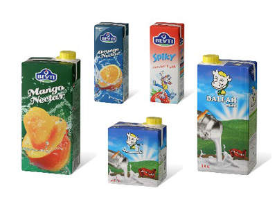 The range of nectars and juices packaged at the IGI Beyti plant in Noubaria.
