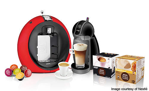 The Nescafé Dolce Gusto beverage system used to make the coffees.