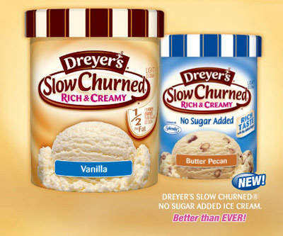 The Dreyer's slow churned brand now includes a half fat variety.