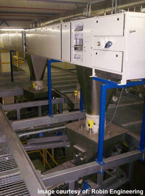 Raw product discharge chutes; the plant produces a wide range of breakfast cereals.