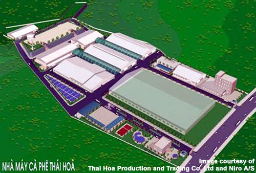 An aerial view of the completed facility (rendering).