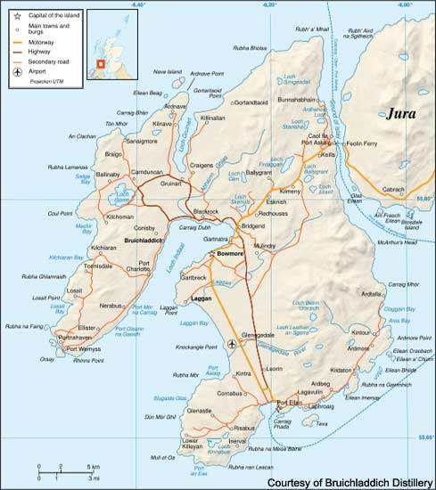 The island of Islay has many famous name distilleries, such as Bowmore, Laphroaigh, Aardbeg and Bruichladdich.