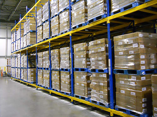 The Sara Lee sliced meat processing plant has a warehouse to store processed meat packs.