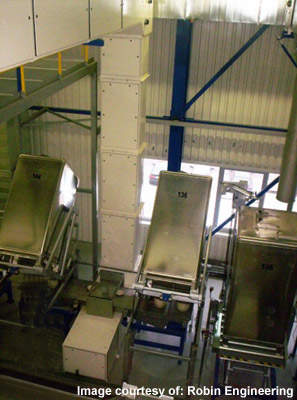 Raw materials infeed station; equipment in the plant was designed and supplied by Robin Engineering Services.