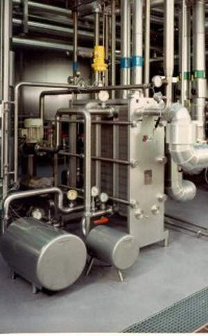 Heat exchanger for cooling milk before curd production.