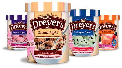 Dreyer's Grand ice cream pails come in a variety of flavours.