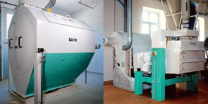 Buhler AG Drum Screen MKZM (left) for removing coarse impurities; Buhler Separator Classifier with Aspiration Channel MTRB (right) for cleaning and classifying grain and other granular materials.