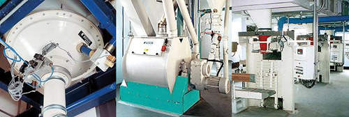 Buhler Pneumatic Discharger MFPF (left) for the complete discharge of non-free-flowing materials from storage bins; Speedmix High-speed Mixer DFML (middle) for mixing free-flowing dry materials encountered in the food processing industry; Single-spout Bagging Station MWPE (right) for bagging granular and non-free-flowing materials.